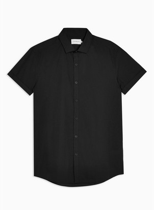 Topman Mens Black Short Sleeve Smart Shirt