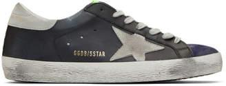 Golden Goose Black and Purple Superstar Sneakers