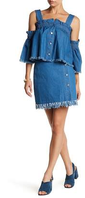 ENGLISH FACTORY Front Button Denim Wrap Skirt