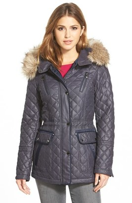 Women's Laundry By Shelli Segal Waxy Twill Quilted Jacket With Faux Fur $240 thestylecure.com