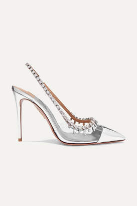 Aquazzura Temptation 105 Crystal-embellished Metallic Leather And Pvc Slingback Pumps - Silver