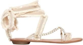 Rene Caovilla 10mm Swarovski & Grosgrain Sandals