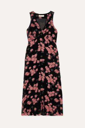 MICHAEL Michael Kors Floral-print Devoré-chiffon Midi Dress - Black