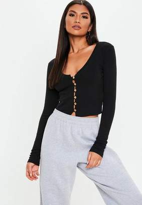 Missguided Black Wooden Button Front Long Sleeve Crop Top
