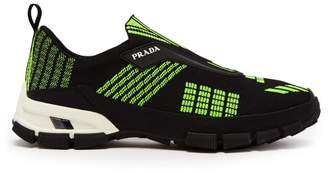 Prada Cross Action Mesh Trainers - Mens - Black Green