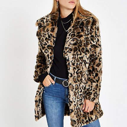 Womens Brown leopard print faux fur coat