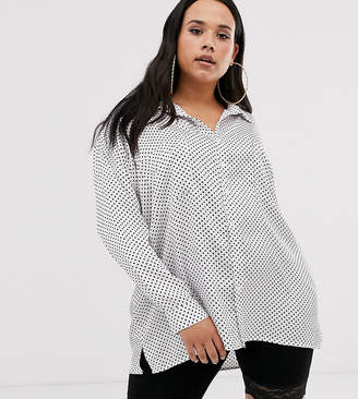 ac1e6eaa7ca Missguided Plus Exclusive oversized satin shirt in polka dot