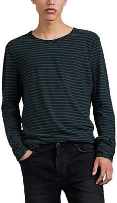 Ksubi Men's Sinister Striped Linen-Cotton Long-Sleeve T-Shirt - Black