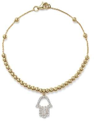 KC Designs Diamond Hamsa Beaded Bracelet in 14K Yellow Gold, .14 ct. t.w.
