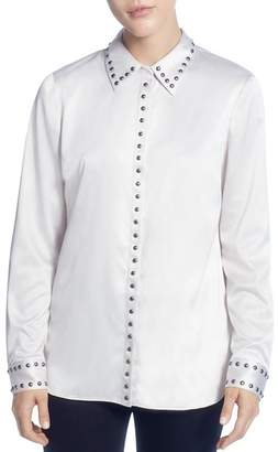 T Tahari Studded Satin Button-Down Blouse