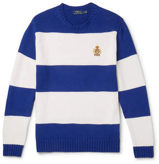 Polo Ralph Lauren Logo-Embroidered Striped Cotton Sweater
