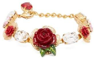Dolce & Gabbana Rose And Crystal Bracelet - Womens - Red