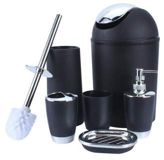 6 Piece Bathroom Accessories Set, Estink Plastic 6pcs Bath Ensemble ToiletBrush and Holder, Lotion Bottles, Tooth Mug, Soap Dish, Trash Can and Soap Dispenser Set(Black)