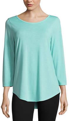 Xersion 3/4 Sleeve Crew Neck T-Shirt-Womens