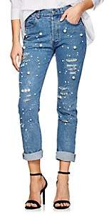 Couture Forte Dei Marmi Women's Vanessa Embellished Distressed Skinny Jeans - Md. Blue