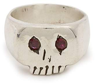 Schwabe Aris Ruby Eyed Skull Sterling Silver Ring - Mens - Silver Multi