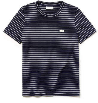 Lacoste Women's Crew Neck Striped Cotton Jersey T-shirt