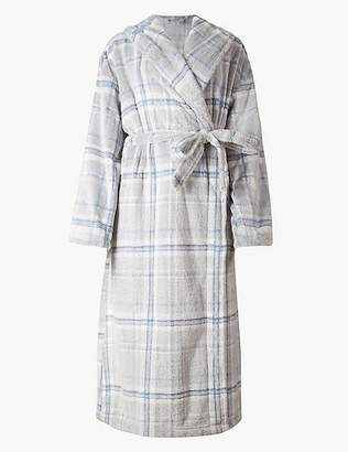 Marks and Spencer Supersoft Checked Dressing Gown with Belt