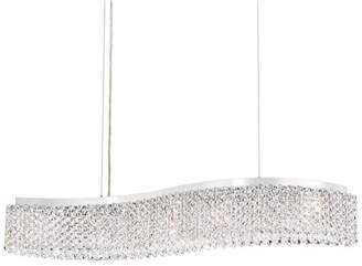 Schonbek Refrax LED 5-Light Pendant in Stainless Steel With Swarovski Clear Crystals