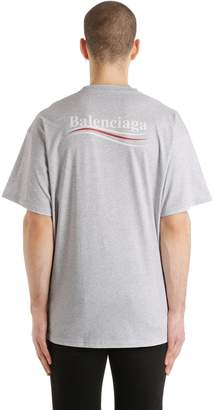 Balenciaga Political Logo Cotton Jersey T-Shirt