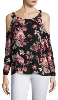 Joie Jilette Floral Cold-Shoulder Silk Blouse