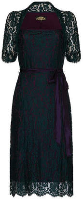 Leila Nancy Mac Party Dress In Emerald And Blackcurrant Lace