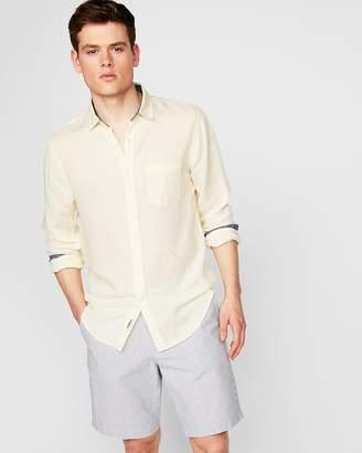 Express Slim Striped Linen-Blend Shirt