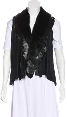 Rozae Nichols Leather Fur-Trimmed Vest