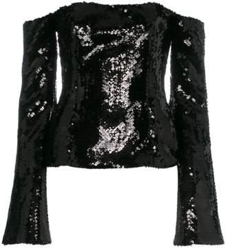 Halpern off shoulder sequin embellished top