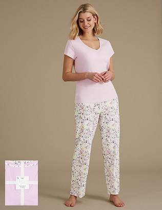 Marks and Spencer Pure Cotton Printed Short Sleeve Pyjama Set