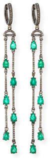 Siena Jewelry Emerald & Diamond Double-Dangle Earrings