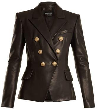 Balmain Double Breasted Peak Lapel Leather Blazer - Womens - Black