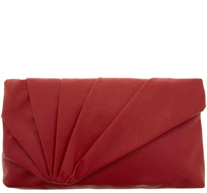 Red pleat front clutch bag