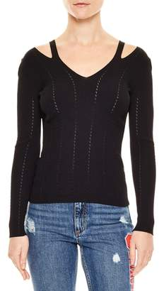 Sandro Cutout V-Neck Sweater