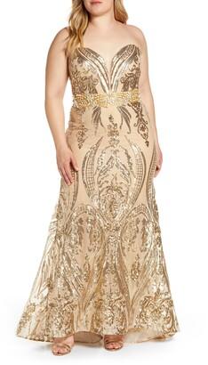 d61848c8268f Mac Duggal Sequin Strapless Sweetheart Neck Evening Gown