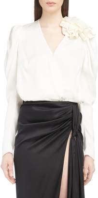 Magda Butrym Ruffle Shoulder Silk Blouse
