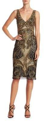 Theia Sleeveless Deco Sequin Embellished Dress
