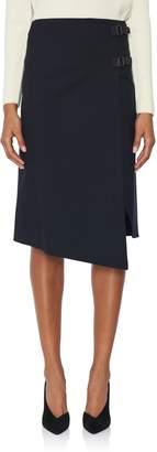 Loro Piana Navy Wool Stretch Skirt