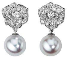 Piaget 18K White Gold Diamond Rose & Akoya Pearl Drop Earrings