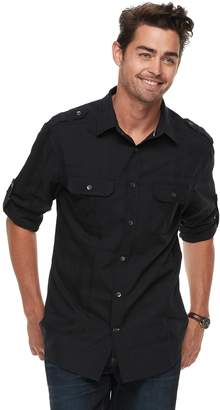 Rock & Republic Men's Military Roll-Tab Button-Down Shirt
