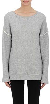 Helmut Lang Women's Fringed-Shoulder Sweatshirt-GREY $320 thestylecure.com
