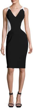 Thierry Mugler Colorblock Sleeveless V-Neck Dress, Black/White