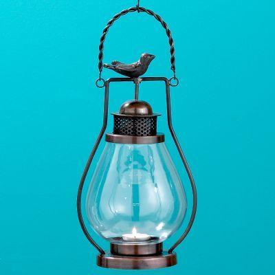 Metal and Glass Bird Lantern