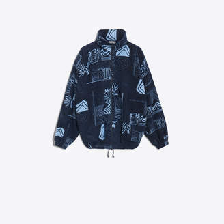 Balenciaga Print oversize zip sweater with logo at chest