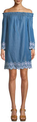 MICHAEL Michael Kors Off-the-Shoulder Eyelet Shift Dress