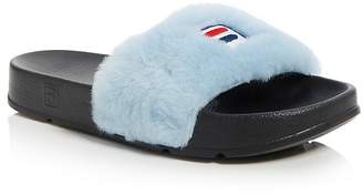 Baja East x FILA Women's Faux Fur Pool Slide Sandals