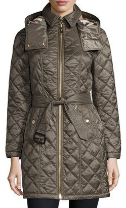 Burberry Baughton Quilted Belted Parka Jacket, Gray $795 thestylecure.com