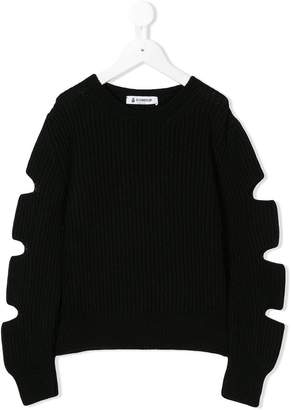 Dondup Kids ribbed cut-sleeve sweater