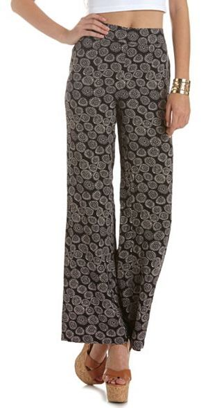 Charlotte Russe High Waist Printed Palazzo Pant