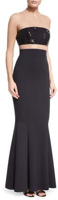 Rachel Gilbert Sequined Bandeau Illusion Gown w/Crepe Mermaid Skirt